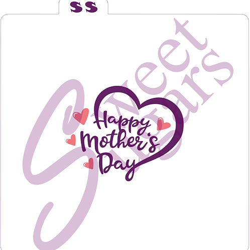 Happy Mother's Day Heart Silkscreen Stencil (1 part or 2 part)