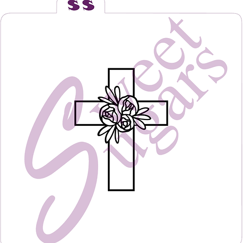 Easter PYO (Paint Your Own) Cross with Roses Silkscreen Stencil