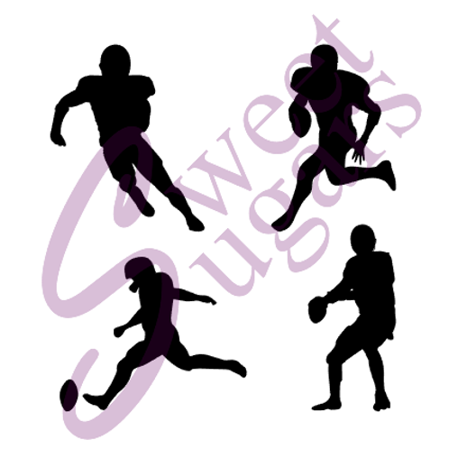 Football Player Silhouette Silkscreen Stencils - 4 Pack Bundle