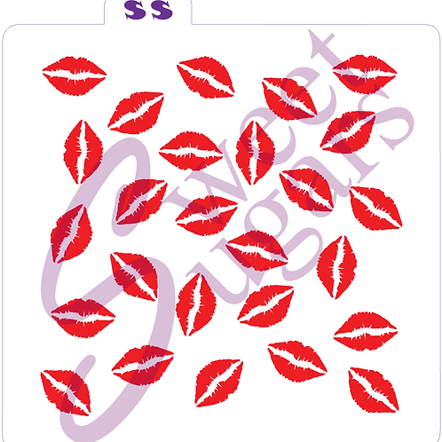 Lips / Kisses Background Stencil - Traditional or Silkscreen