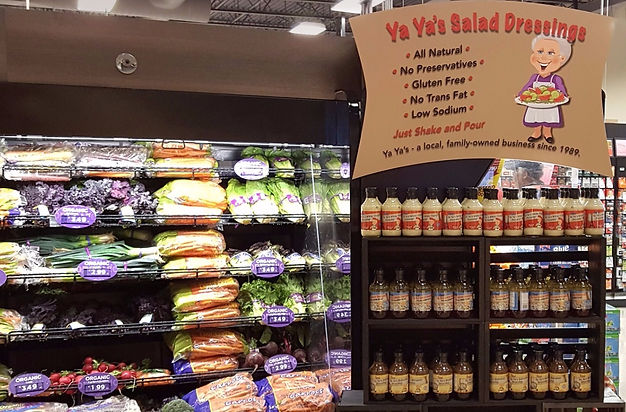 Yaya's of Akron Salad Dressing Display at Krieger's Market in Akron OH