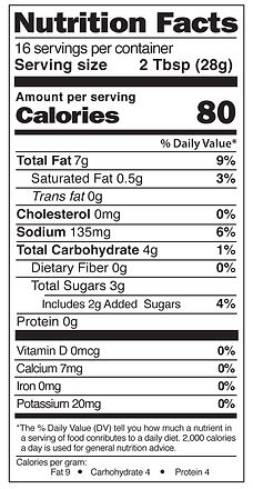 Yaya's Balsamic Dressing Nutrition Facts
