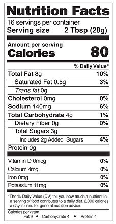 Yaya's White Balsamic Dressing Nutrition Facts