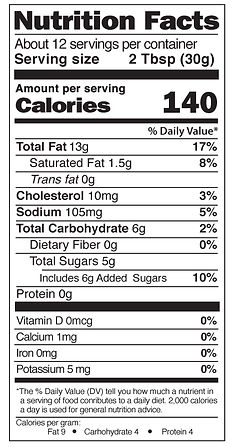 Yaya's White French Dressing Nutrition Facts