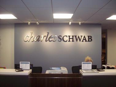 Charles Schwab Brushed Aluminum Letters