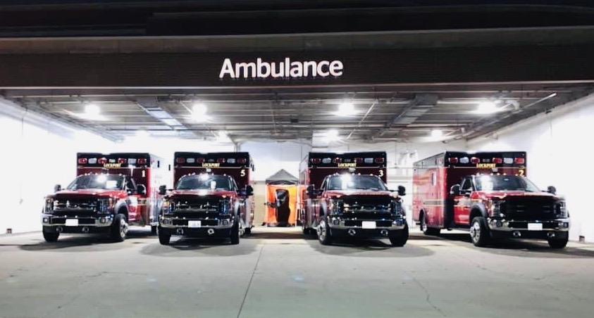 Ambulances #1, #5, #3 and #2