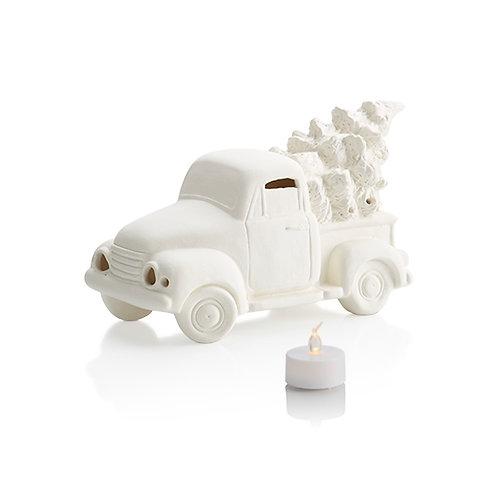 Set of 4 Mini Ceramic Trucks w/ Tree - UNPAINTED