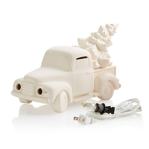Ceramic Lighted Truck w/ Tree - UNPAINTED