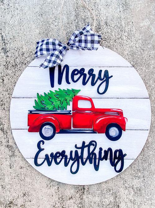 """Merry Everything"" Truck & Tree Wood Round"