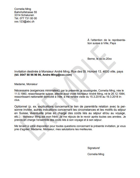 Carta de invitacion para entrar a Suiza