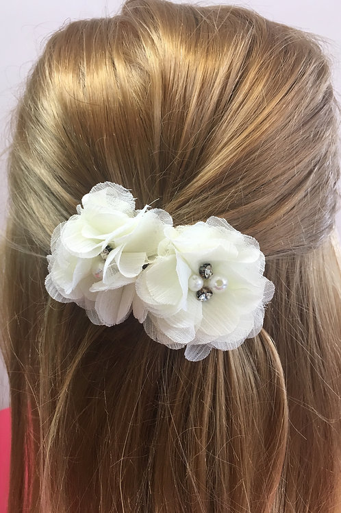 Mini White Flower Hair Clips (Set of 2)