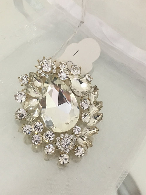 Large Single Jeweled Broach