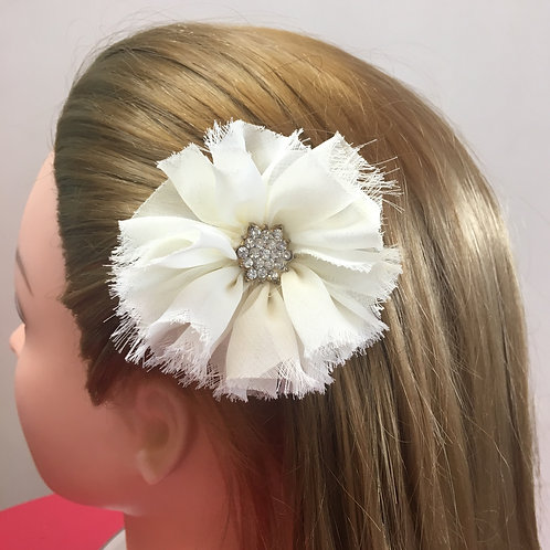 Distressed Jeweled Flower Hair Clip