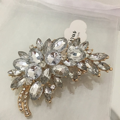 Jeweled Leaf Broach