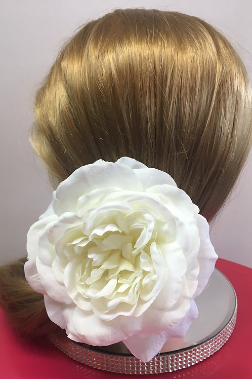 Classic White Large Flower Hair Clip