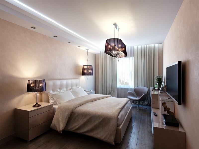 потолок в спальне натяжной