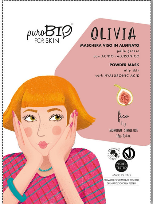 Olivia Maschera viso Peel-Off per Pelle Grassa con  Acido Ialuronico- PUROBIO