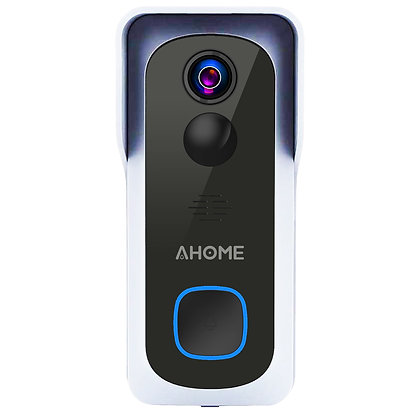 AHOME B1 Wi-Fi Video Doorbell with Free Chime, Full HD Wide Angle Camera, White
