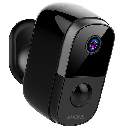 AHOME C1 Wireless Battery Camera Rechargeable with PIR Motion Detection, Black