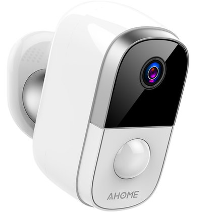 AHOME C1 Wireless Battery Camera Rechargeable with PIR Motion Detection, White