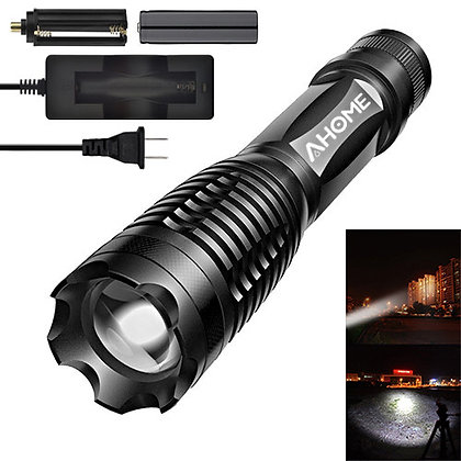 Ahome Tactical Flashlight - 18650 Battery and Charger Included - White Light
