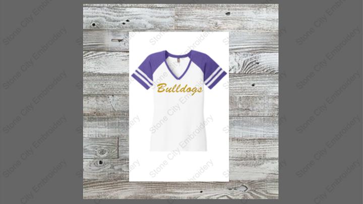 Glitter Bulldogs District V Neck Game T shirt