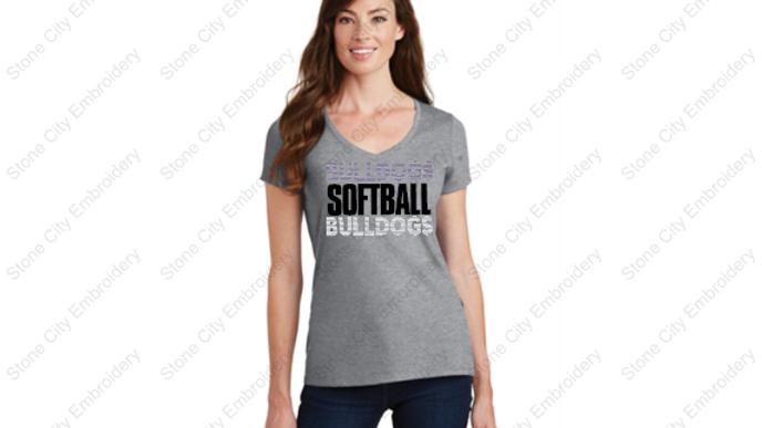 SOFTBALL V Neck Ring Spun T shirt Bloom Carroll Spirit Wear