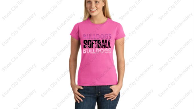 SOFTBALL Crew Neck Ring SPUN T shirt Bloom Carroll Spirit Wear