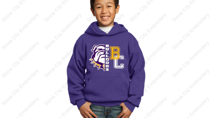 1/2 face BC Youth Hoodie 50/50 Fleece Bloom Carroll Spirit Wear