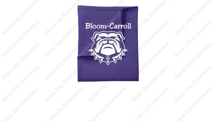 Fleece Blanket w Bloom Carroll Screen Print Purple or Grey