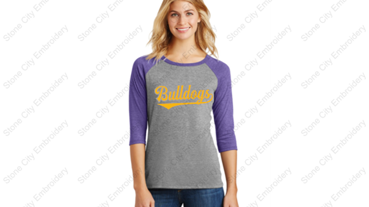 Ladies Perfect Tri 3/4 sleeve Baseball style