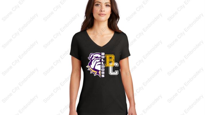 Ladies V Neck Perfect Tri T shirt Bloom Carroll Spirit Wear