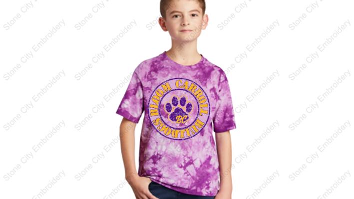 Youth Tie Dye T shirt Bloom Carroll Spirit Wear
