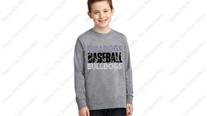 BASEBALL Long Sleeve Youth T shirt Blend Bloom Carroll Spirit Unisex