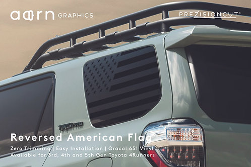Reversed American Flag PrezisionCut® Toyota 4Runner Vinyl Window Decal