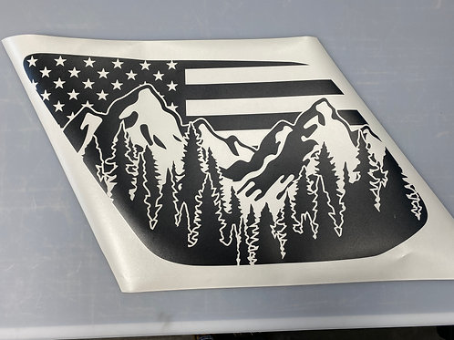 Ostler Peak Flag PrezisionCut® Vinyl Window Decal Set