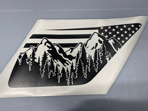 Ostler Peak Flag PrezisionCut® Vinyl Window Decal