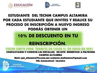 10% DE DESCUENTO EN TU REINCRIPCIÓN