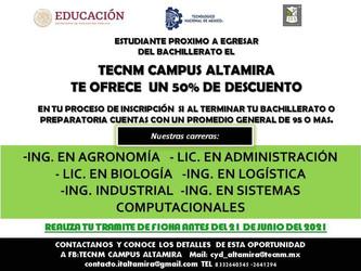 TECNM CAMPUS ALTAMIRA TE OFRECE UN 50% DE DESCUENTO