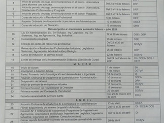 Calendario escolar Feb-Jul 2021