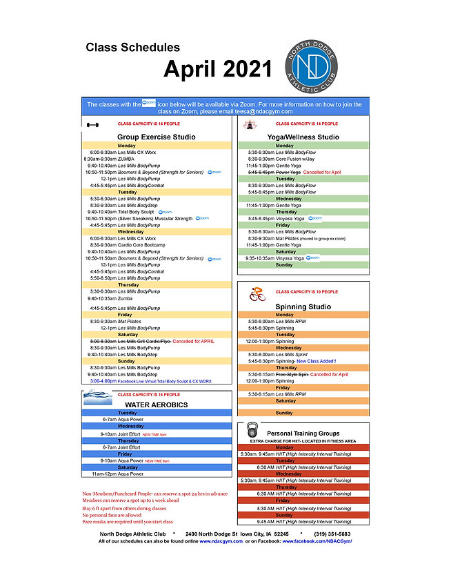 April 2021 Class Schedule - Colums-page-