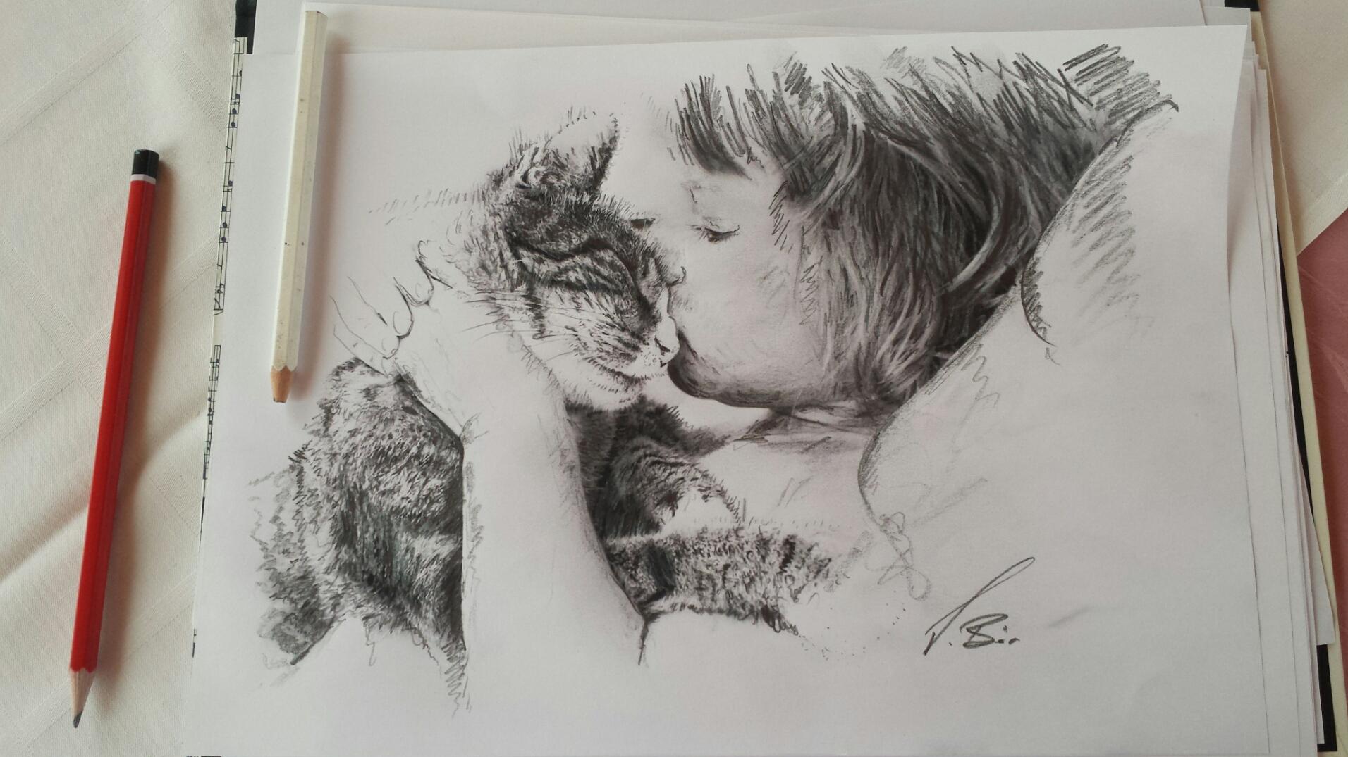 unzertrennlich -Zeichnung nach Fotovorlage