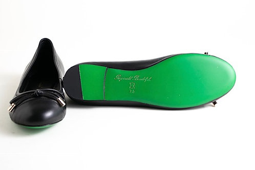 Black Leather Flats with Green Soles