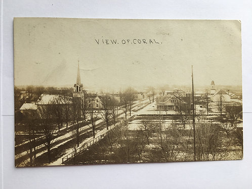 CORAL, MI -- View of the Town and Churches 1909