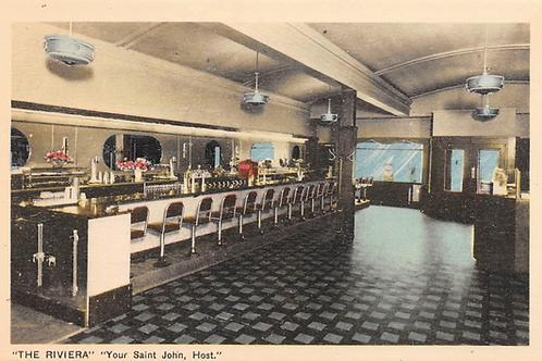 ST JOHN New Brunswick Canada postcard The Riviera diner restaurant interior 1950