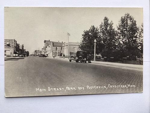 Cheboygan, MI - Main Street- Park and Post Office
