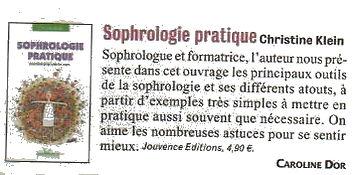 Critique Version Fémina- Sophrologie pratique-exercices pour tous les jours- Christine Klein