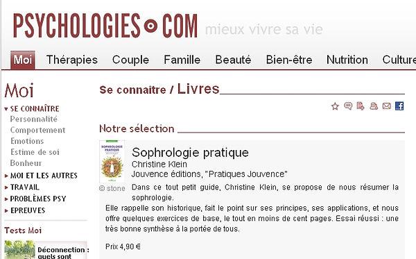 Critique Psychologie - Sophrologie Pratique-exercices pour tous les jours- Christine Klein