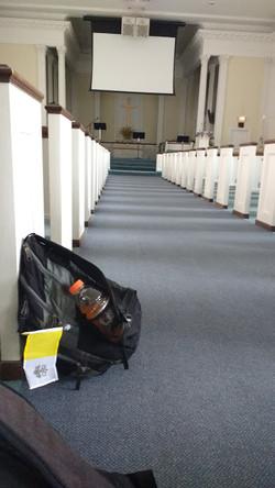 Backpack in Church
