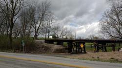 Train tracks against stormy skhy